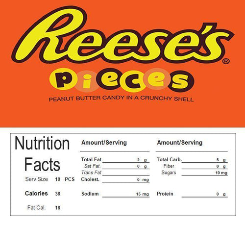 Reeses Pieces Vending Machine Candy Label Sticker With NUTRITION