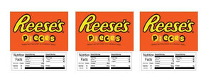 "3 PACK Reeses Pieces 2.5"" x 2.5"" Candy Vending Labels Sticker NUTRITION (New Design)"