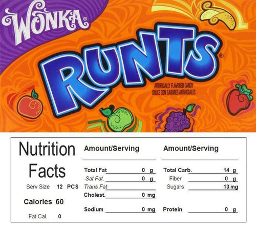 Runts Vending Machine Candy Label Sticker With NUTRITION