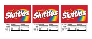 "3 PACK Skittles 2.5"" x 2.5"" Candy Vending Labels Sticker NUTRITION"