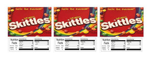 "3 PACK Skittles 2.5"" x 2.5"" Candy Vending Labels Sticker NUTRITION (New Design)"