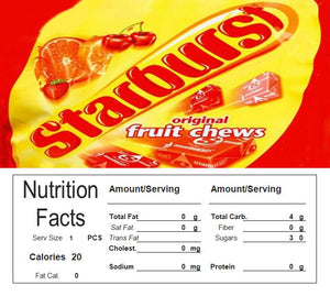 Vending Machine Candy Label Sticker With NUTRITION