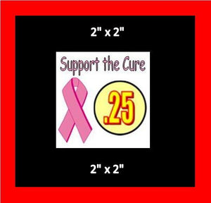 "8 Pack SUPPORT CURE PRICE Stickers for Vending Candy Labels Machines 2"" x 2"""