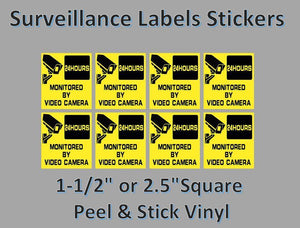 "8 Pack Safety Surveilance Label Sticker Candy Vending 1.5"" Square"