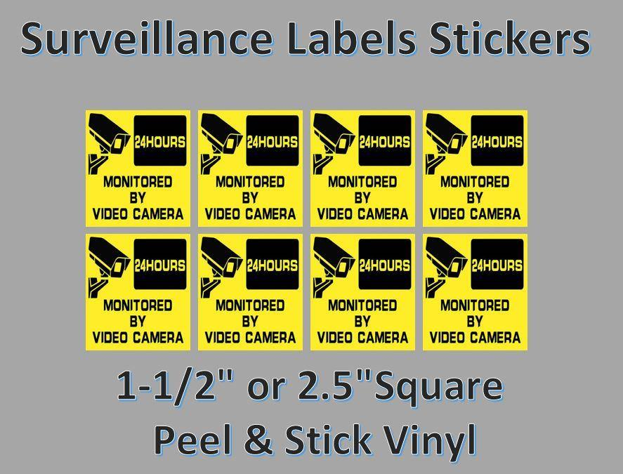 8 Pack Safety Surveilance Label Sticker Candy Vending 1.5