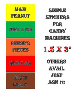 "5 PACK 1-1/2 x 3"" Regular Vending Sticker NON NUTRITION, OUTSIDE MOUNT SIMPLE TEXT - Vending Labels"