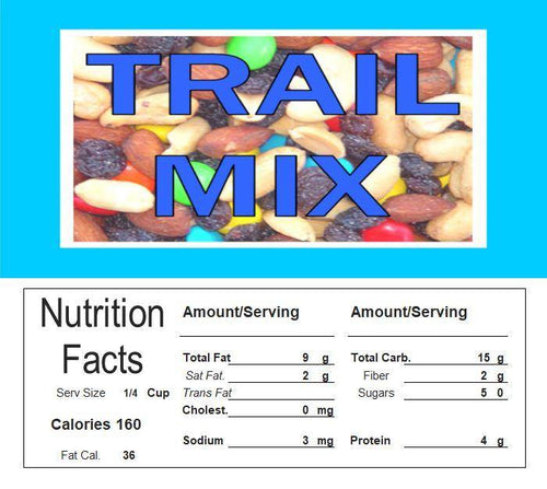 Trail Mix Vending Machine Candy Label Sticker With NUTRITION