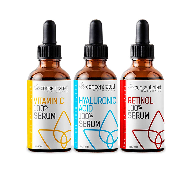 Complete Facial Serum Set Vitamin C, Hyaluronic Acid and Retinol Serum Face SerumTrio