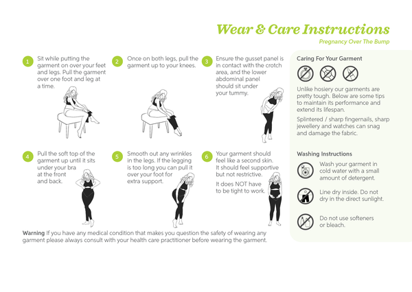 SRC pregnancy wear and care instructions