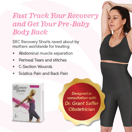 SRC Recovery Shorts help mothers to treat abdominal separation, perineal tears and stitches, c-section wounds, sciatica pain and back pain