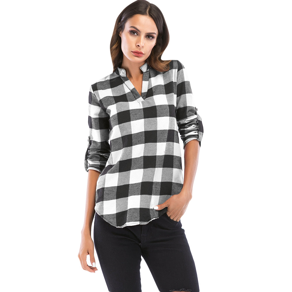 V Neck Long Sleeve Checkered Print Women Shirt