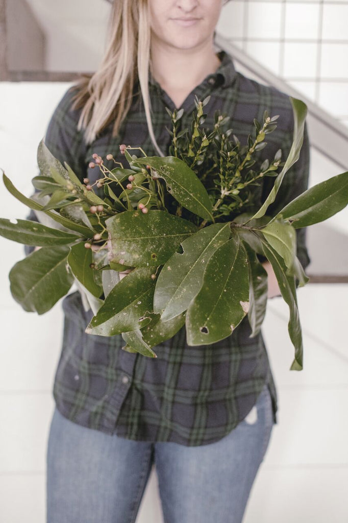 Spruce up your Store-Bought Garland with Greens from your Yard.