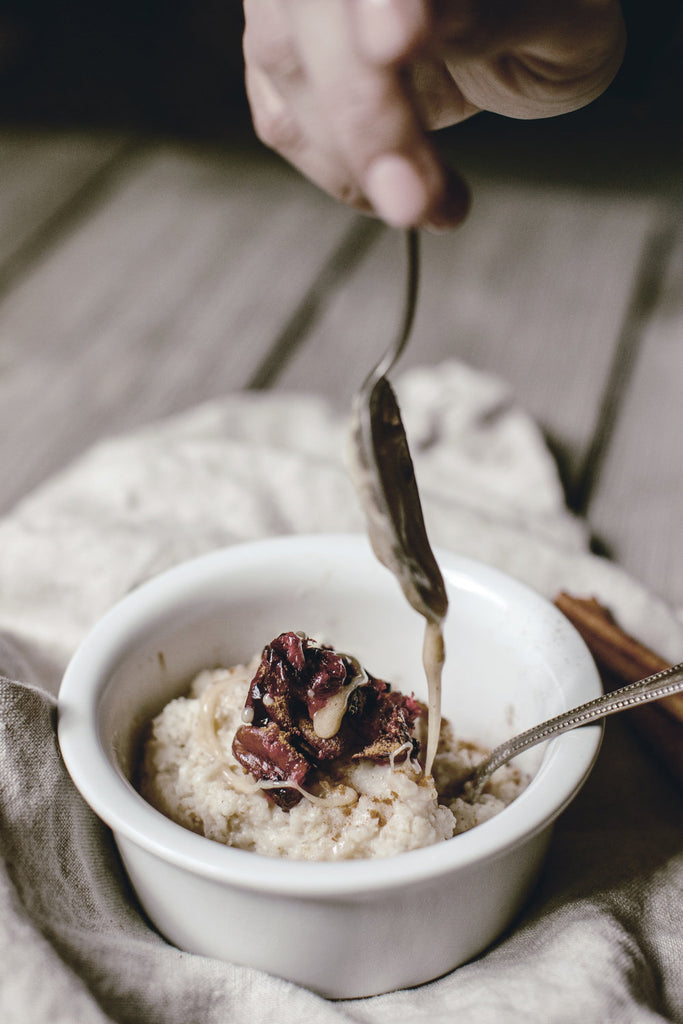 Cranberry Oatmeal with Creamed Honey.