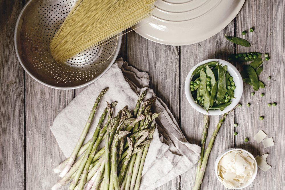 Snap Pea Spring Pasta with Asparagus and Parmesan.