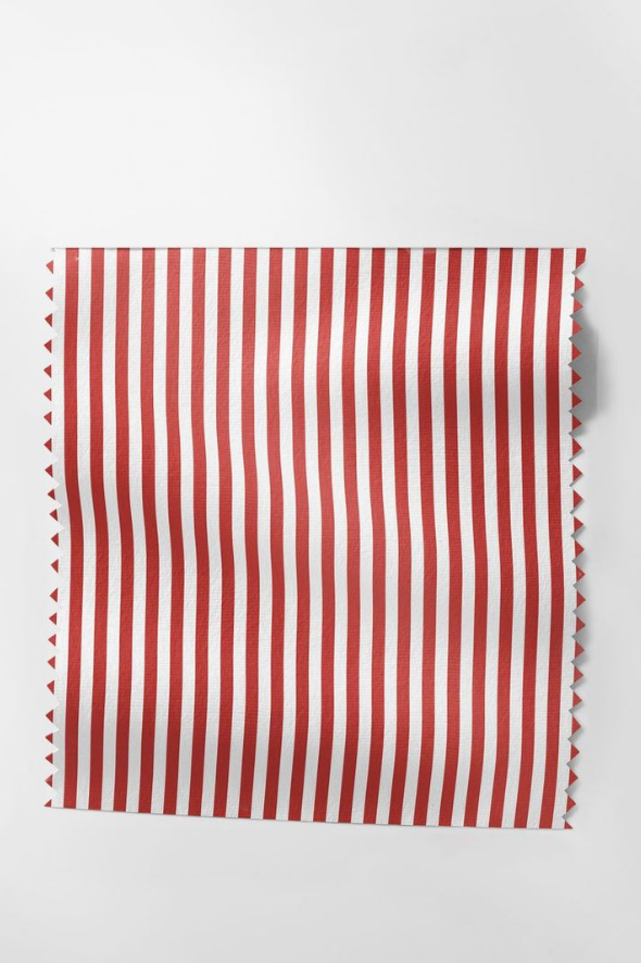 Holiday Fabric in Red Awning Stripe
