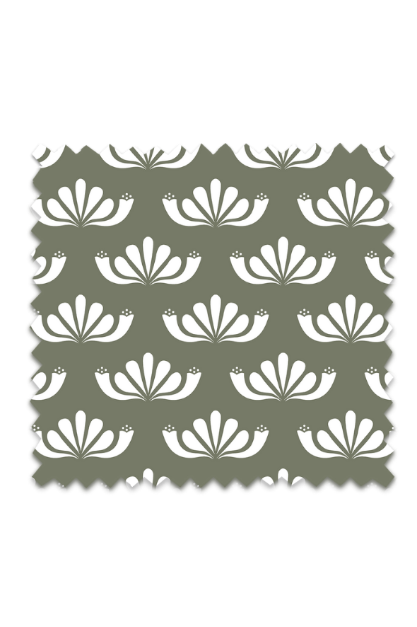 Honeysuckle Fabric in Olive Background