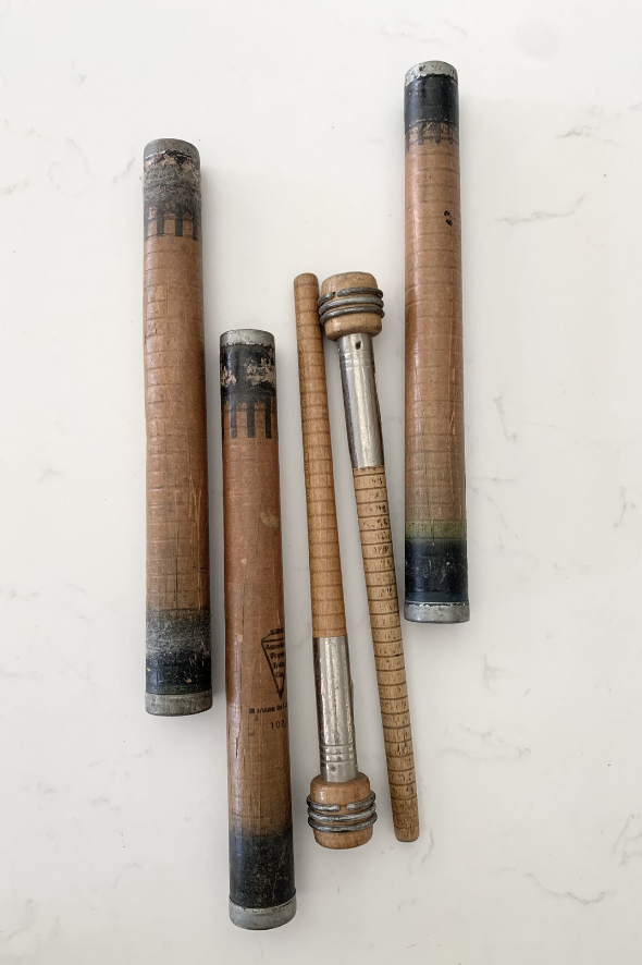 Vintage Wooden Stick Spool Spindles