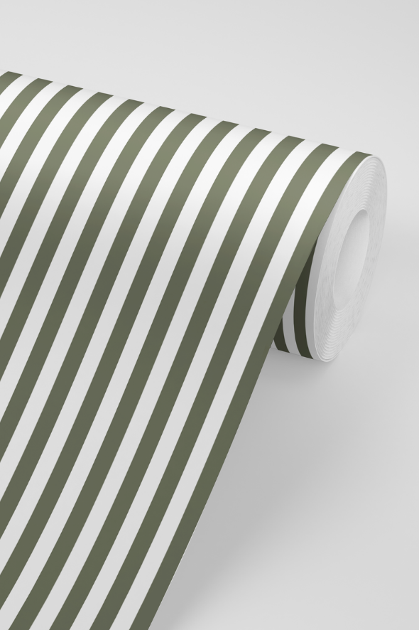 Awning Stripe Wallpaper in Olive