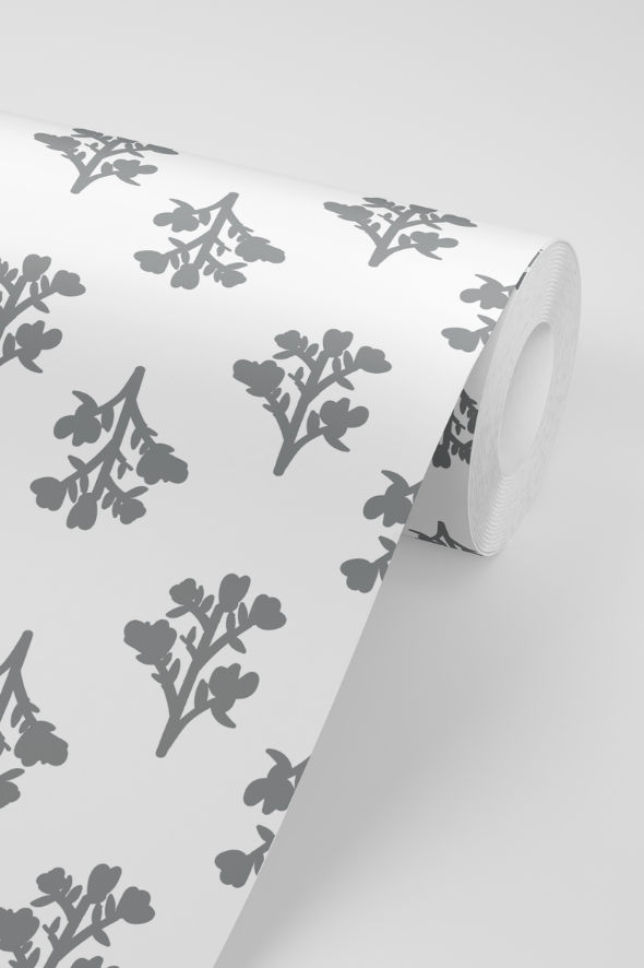 Vintage Floral Wallpaper in Grey