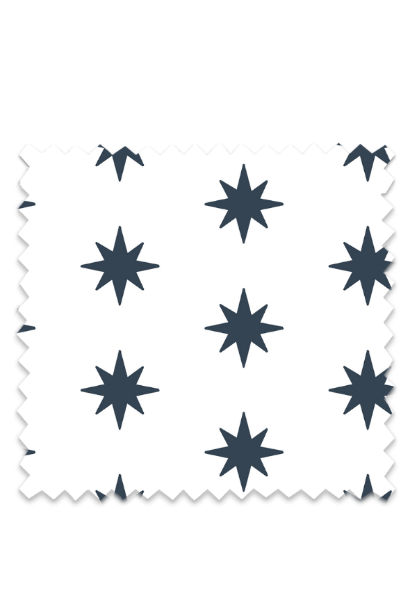 8 Point Star Fabric in Navy
