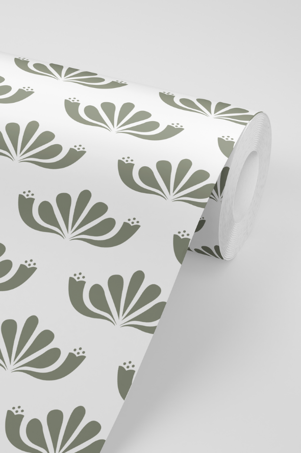Honeysuckle Wallpaper in Olive
