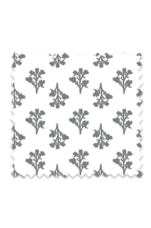 Vintage Floral Fabric in Grey