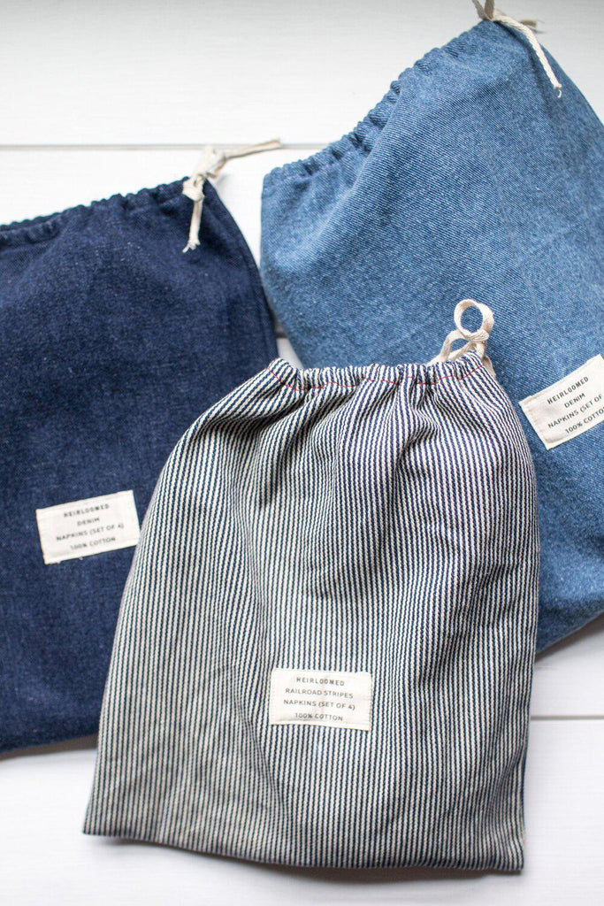 Denim Collection - Dark Denim Dinner Napkins-Heirloomed