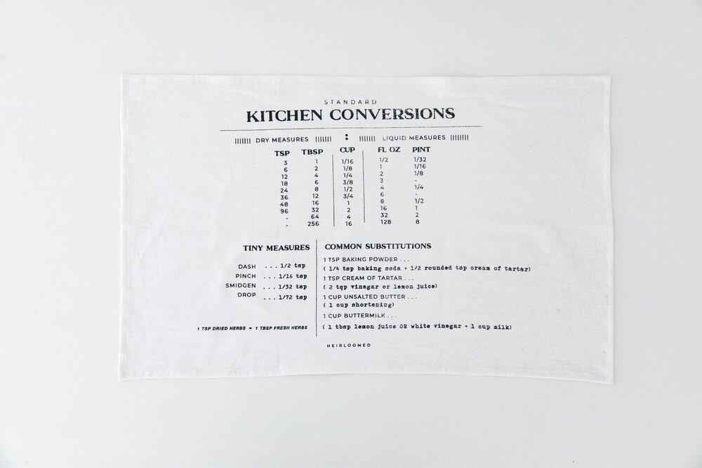 Family Recipe Collection - Kitchen Conversions Tea Towel-Heirloomed