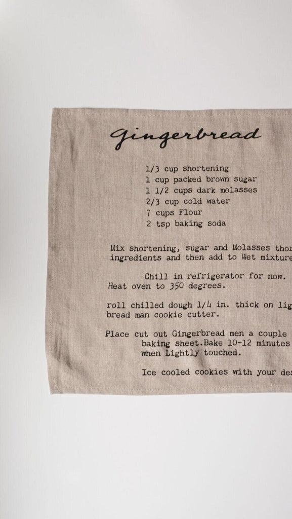 Family Recipe Collection Tea Towel (Gingerbread)-Heirloomed