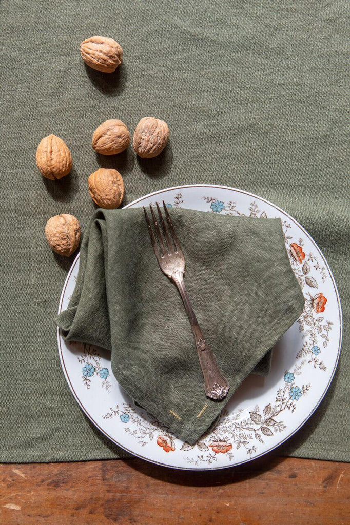 Keepsake Linen Collection Olive Napkins (set of 4)-Heirloomed