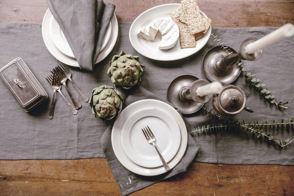 Keepsake Linen Collection Pewter Table Runner-Heirloomed