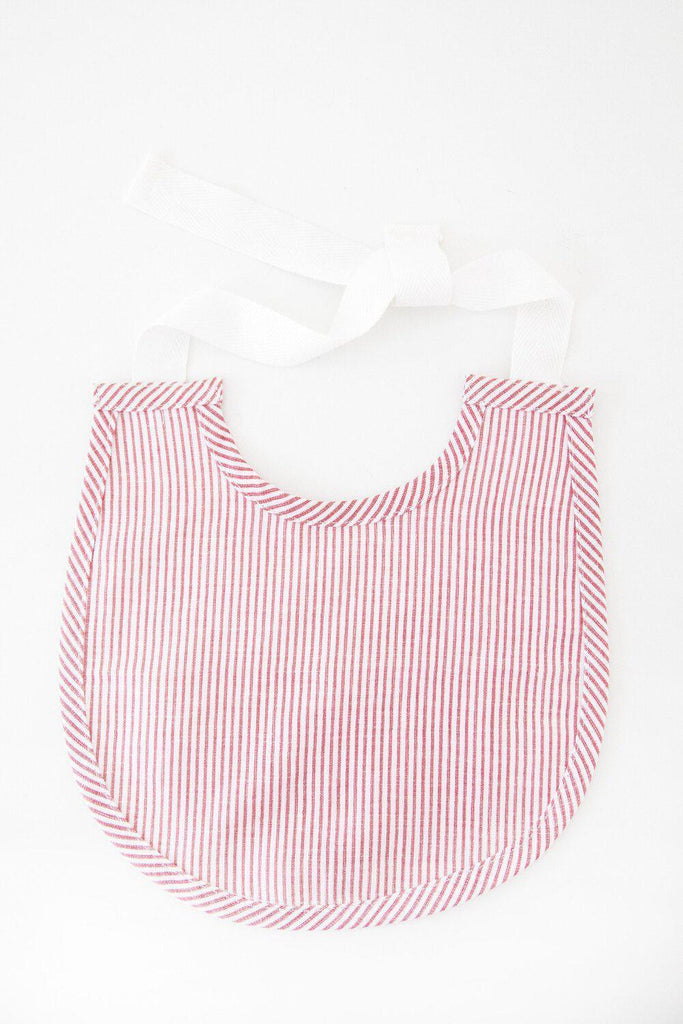 Vintage Red Stripe Linen Baby Bib-Heirloomed