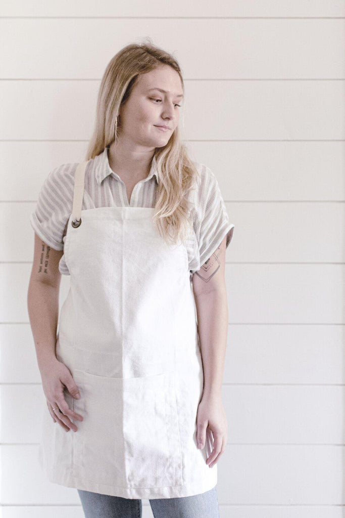 White Canvas Studio Apron-Heirloomed