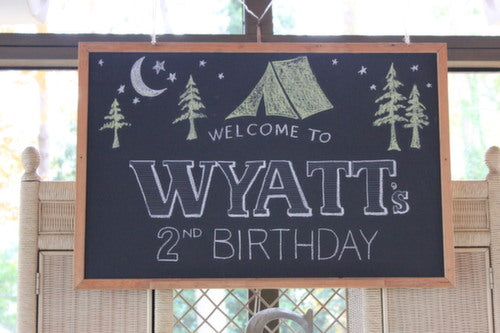 Camp Party Chalkboard Sign