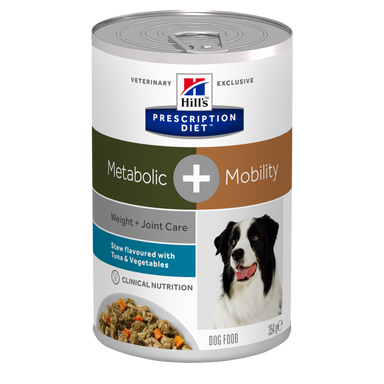 Hill's PRESCRIPTION DIET - Metabolic + Mobility Canine Stew med tun og grøntsager 12 x 354g