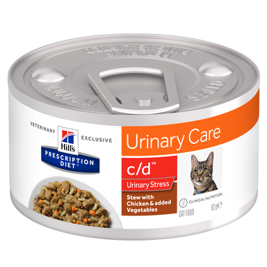 Hill's PRESCRIPTION DIET - c/d Urinary Stress Feline Stew til kat med Kylling & Grøntsager Stew 24 x 82g