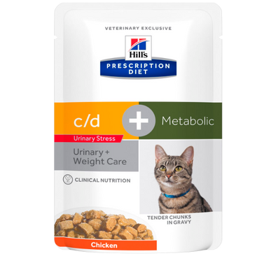 Hill's PRESCRIPTION DIET - c/d Urinary Stress + Metabolic vådfoder til katte 12x85g portionspose