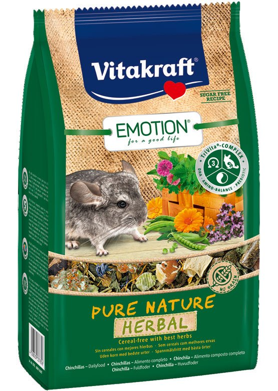 Chinchillafoder, korn- & sukkerfri, Emotion® Pure Nature Herbal