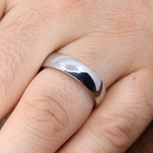 Polished Court Shaped Sheffield Steel Wedding Band - The Ruskin Green Ring