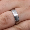 Brushed Centre Stepped Edges Stainless Steel Ring - The Devonshire Green Ring