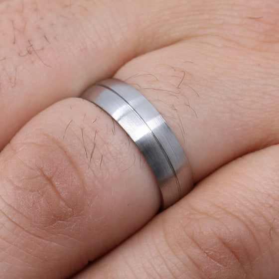 Sheffield Steel Wedding Band with Engraved Line and Satin/Matt Finish - The Concord