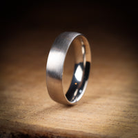 Matt/Satin Finish Court Shaped Sheffield Steel Wedding Band - The Millhouses Ring