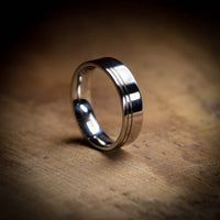 Two Asymmetric Engraved Lines Polished Ring - The Meersbrook Ring