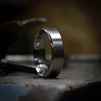 Bevelled Edge Stainless Steel Wedding Ring - The Crookes Valley Ring