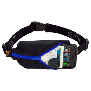 Spibelt Energy Running Belt with 6 Energy Gel loops Black with blue zip