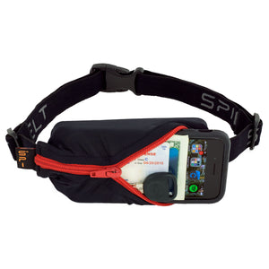 Spibelt Energy Running Belt with 6 Energy Gel loops Black with red zip