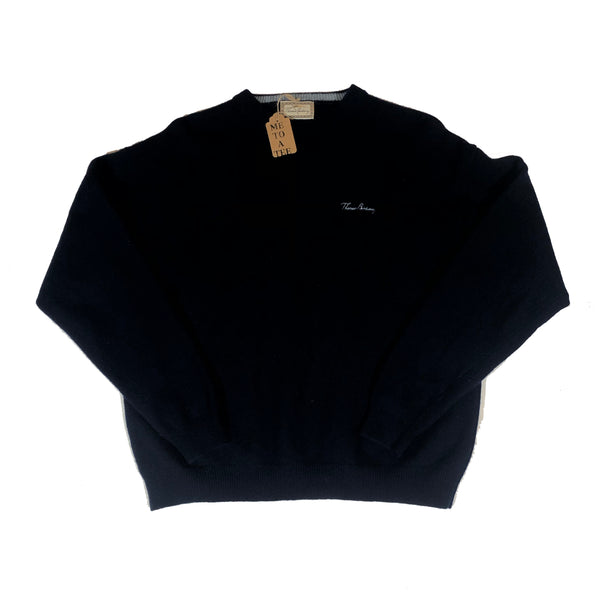 Thomas Burberry navy blue 100% wool jumper