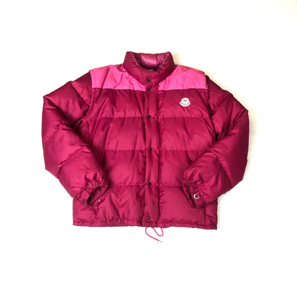 Moncler grenoble 1980s pink puffer jacket with removable sleeves