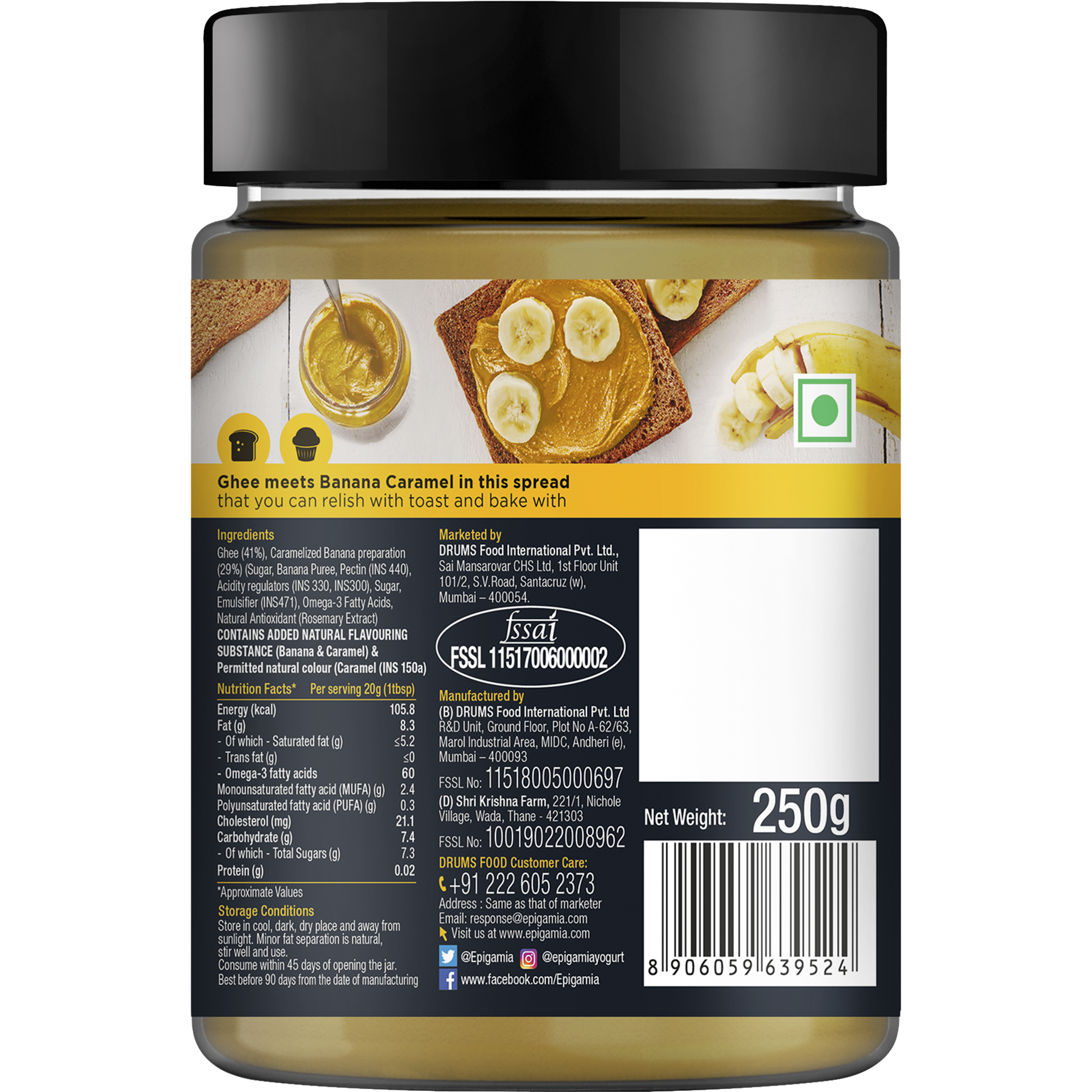 Epigamia Spreads, Made from Ghee, Banana Caramel - 250 gm