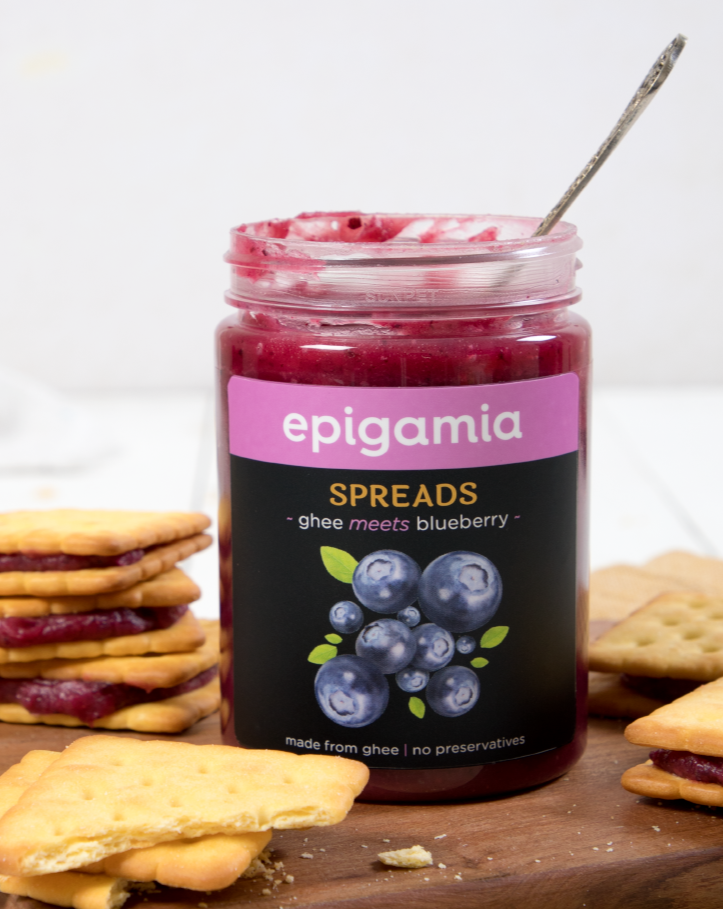 Epigamia Spreads, Made from Ghee, Blueberry - 250 gm